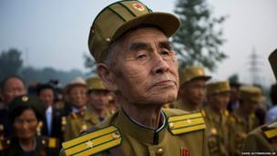 A veteran of the Korean War at a ceremony in Pyongyang, North Korea
