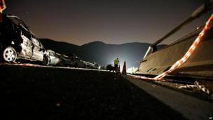 Vehicle wreckage near Avellino (29 July)