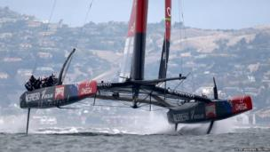 Emirates Team New Zealand during the first race of Round 5 of the Louis Vuitton Cup, the America's Cup Challenger Series on San Francisco Bay, California