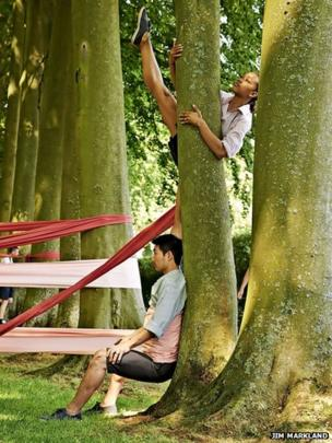Daisuke Miura and Krystal Lowe at Hidcote Manor Garden