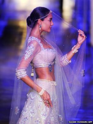 A model during Indian Bridal Fashion Week