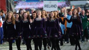 Irish dancers accompanied the Irish team into the ceremony