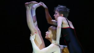 Performers in the Edinburgh Festival acrobatic cabaret show Circa at the Underbelly venue in Edinburgh