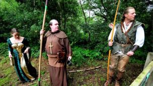 Maid Marian, Friar Tuck and Robin Hood during 29th annual Robin Hood Festival
