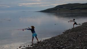 Betty and Gregor fishing in Loch Broom