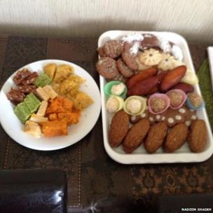 A selection of Eid sweets and pastries on plates. Photo: Nadeem Shaikh