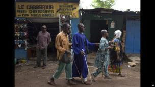 Blind beggars in Bamako, Mali - Friday 2 August 2013