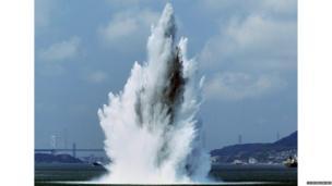 Huge water explosion