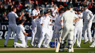Stuart Broad of England celebrates after claiming the wicket of Brad Haddin of Australia during day four of 4th Investec Ashes Test match between England and Australia at Emirates Durham ICG on 12 August 2013 in Chester-le-Street, England.