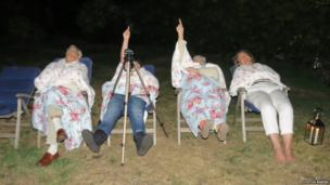 Three generations of the Horton Baker family watching the stars from their back garden in Ripley, Surrey in England. Photo: Dawn Horton Baker