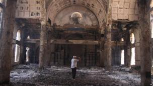 The gutted interior of the church of Saint Moussa in Minya, Egypt, 15 August