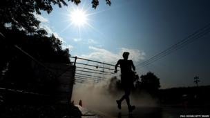 A finalist competes in the Men's 50km race walk at the World Athletics Championships in Moscow, Russia on 14 August, 2013