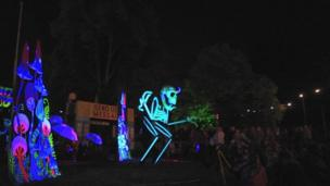 Day and night time fun with ten entertainment areas at the Green Man festival in Powys