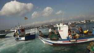 Spanish fishermen gather in their fishing boats during a protest at an area of the sea where an artificial reef was built by Gibraltar using concrete blocks, in Algeciras bay, La Linea de la Concepcion in southern Spain