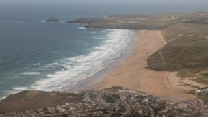 View from Perranporth from Catalina seaplane
