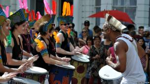 Entertainers playing the drums at the Notting Hill Carnival. Photo: Justin Spencer
