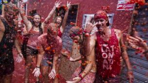 Revellers at Bunol's Tomatina festival