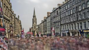 Edinburgh's High Street on the last day of The Fringe
