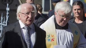 Irish President Michael D Higgins attends the mass at Sacred Heart Church in Donnybrook, Dublin.