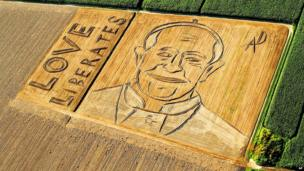 A giant portrait of Pope Francis that appeared on the surface of the fields near Verona, northern Italy