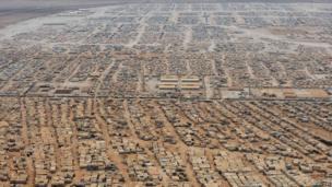 An aerial view shows the Zaatari refugee camp, near the Jordanian city of Mafraq - 18 July 2013 file