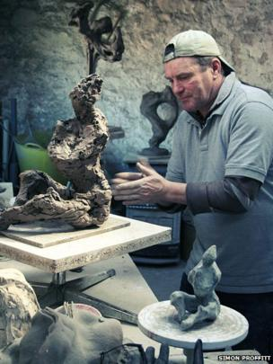 Nick Eames at work in his studio at Cilcain, near Mold in Flintshire