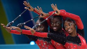 Gymnasts from the Angola team perform during the group all-around final at the 32nd Rhythmic Gymnastics World Championship in Kiev - Saturday 31 August 2013