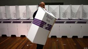 Franko Toller, an electoral officer at the Balmoral polling station