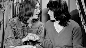 John Lennon and Mick Jagger at The Rolling Stones Rock and Roll Circus