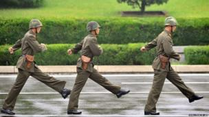 North Korean soldiers march