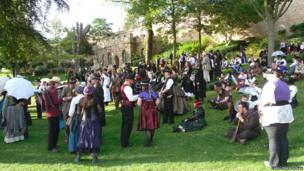Festival goers at the Steampunk festival