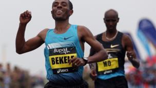 Ethiopian Kenenisa Bekele and Mo Farah in the Great North Run