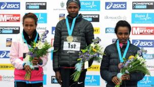 Priscah Jeptoo, centre, with Meseret Defar, left, and Tirunesh Dibaba who came third in the women's elite Great North Run