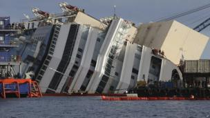 A close up of one side of the tipped cruise ship, surrounded by equipment and salvage teams.