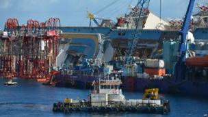 A close up view of the Concordia surrounded on all sides by red and blue cranes and equipment.
