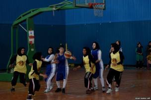 Afghan women basketball players