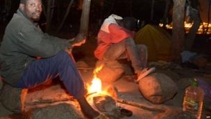 African migrants camping in a forest near Nador, Morocco - Wednesday 18 September 2013