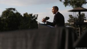 US President Barack Obama speaks at a memorial service for the victims of last week's shooting at the Washington Navy Yard