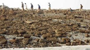People walk on an island that rose from the sea following an earthquake, off Pakistan's Gwadar coastline in the Arabian Sea