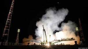 Soyuz rocket takes off at Baikonur space centre in Kazakhstan