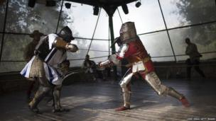 Medieval history enthusiasts during combat at the Knights Of Jerusalem Historical Festival in Israel