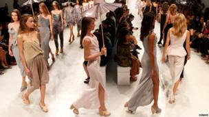 Models present creations by designer Hussein Chalayan as part of his Spring/Summer 2014 women's ready-to-wear fashion show during Paris fashion week.