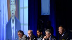 United Nations Secretary General Ban Ki-moon addresses the United Nation's Intergovernmental Panel on Climate Change (IPCC) via video link.