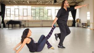 Strictly Come Dancing contestant Dave Myers and dance partner Karen Hauer during rehearsals at the Royal Academy of Dance