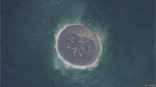 a small island of mud and rock created by the huge earthquake that hit southwest Pakistan