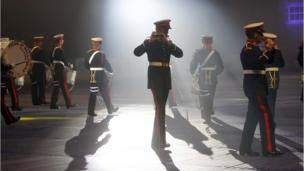 Band on stage at the Belfast Tattoo