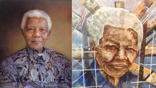 (Left) Mr Nelson Mandela by Richard Stone and Mandela the Global Icon by Rankadi Daniel Mosako