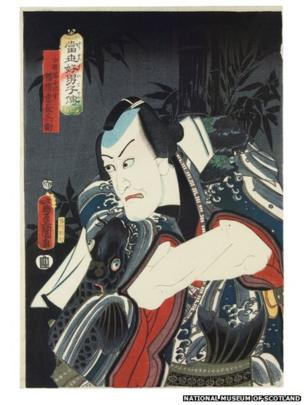 After a hiatus of a few years, during which Kabuki prints were not made, production restarted tentatively in the late 1840s. At certain points in the play, the tension builds to a moment where the actor strikes a 'frozen pose' (mie), providing the perfect moment for the artist to capture.