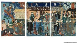 The obsession with kabuki actors led artists to take backstage scenes or life offstage as subject matter. Prints portray actors out for a walk, disguised as ordinary people, or attending festivals. There are also representations of their cultural activities, participating in salons for poetry composition and calligraphy.