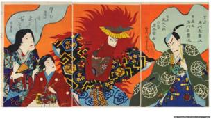 Increasing political instability from the 1850s onwards led to the collapse of the feudal, military regime in 1868, and the formation of a new government intent on modernising Japan. This included the introduction of Western technology, customs, and dress, but despite these changes, Kabuki retained its popularity. With censorship restrictions lifted, playwrights were free to explore contemporary themes, and with new dyes available, artists could take advantage of a vivid range of colours in their designs.
